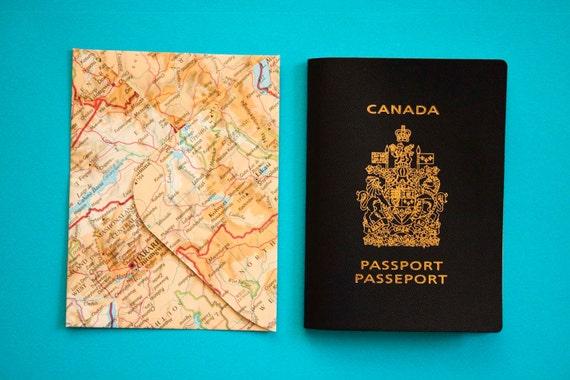 Wedding Invitation Envelopes Canada: Set Of 20 Passport Size Upcycled Atlas Envelopes