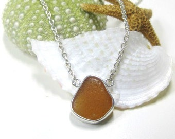 Amber Sea Glass Bezel Set Necklace | Sterling Silver | Bezel Set | Sea Glass Jewelry | Women's Jewelry | Beach Glass | Amber Necklace