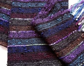 handwoven striped lightweight scarf in deep renaissance tones