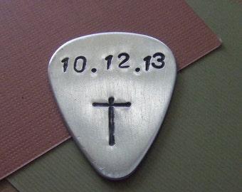 Guitar Pick - Cross Guitar Pick - Hand Stamped Guitar Pick -Personalized Guitar Pick - Scripture Guitar Pick - Plectrum - Music Musician