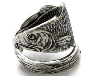Only Fish in the Sea Wrapped Sterling Silver Spoon Ring Adjustable