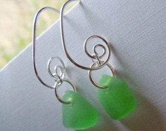 Green Sea Glass Earrings - Modern Jewelry Beach Glass Earrings Dangle Earrings