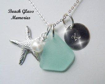 Aqua Beach Glass Personalized Necklace Sea GlassMonogrammed Jewelry Seaglass Necklace