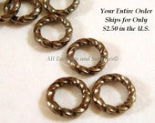 50 Gunmetal Jump Rings 6mm Twisted Brass Fancy 16 gauge 6mm Outside - 50 pc - 5212