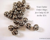 25 Antique Silver Bead 4mm Metal Filigree w Cutout Plated Brass - 25 pc - 6257-8