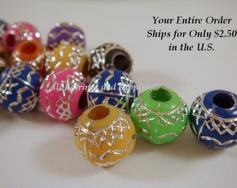 SALE - 25 Round Acrylic Beads Mixed Colors w Silver Design 11mm - 25 pc - A1036-AS25-AG