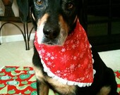 Snowflakes and Pups in Stockings With Lace Reversible Bandana Small
