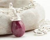 Ruby Necklace - July Birthstone Necklace - Sterling Silver - Gemstone Necklace - July Birthday Gift - Handmade Gemstone Genuine Ruby Jewelry