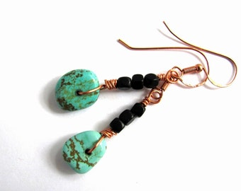 Turquoise and Copper Earrings, Wire Wrapped Magnesite Vintage Repurposed Beads, Eco Friendly Jewelry by Hendywood