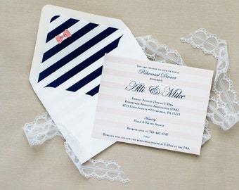 Preppy Stripes and Bows Save the Date Cards or Invitations