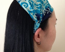 Wide Headband - Batik Fabic, Yoga Hair Accessory, Workout Head Wrap, Women's Hair Accessory, Stretch Headband, Fabric Wrap