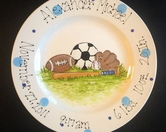 Personalized Hand Painted Sports Themed Birth Announcement Plate