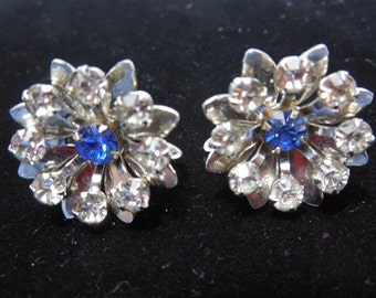 Vintage B N Snowflake Earrings Cobalt Blue and Clear Rhiinestones