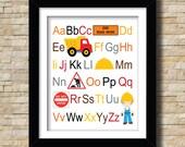 ABC Construction Boy Themed 8x10 Digital Print