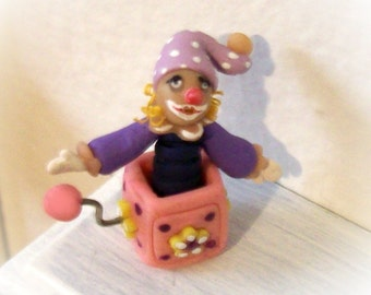 Jill-in-the-Box, Miniature Girl Decor, Pink & Purple, Hand Sculpted, One of a Kind, Dollhouse Scale, Tiny Girl Toy