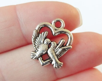 10 Heart Dove Charms 15.5x19x3mm