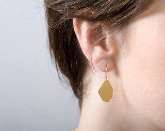 Gold Nugget Earrings, Gold Drop Earrings, Faceted Earrings, Gold Dangle Earrings