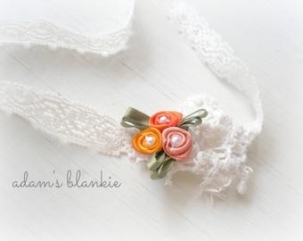 The Littlest Pumpkin  - Orange Peach Rosettes - Cream Lace - Baby Infant Newborn Girls Adults - Photo Prop