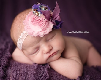 Ashleigh - Lavender Purple Pink Floral Rosette Lace Headband - Bow Satin Pearl - Girls Newborns Baby Infant Adults