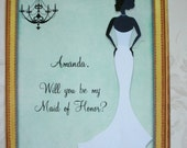 AFRICAN AMERICAN Bride - Will you be my bridesmaid - Custom - 8 notecards with envelopes - Wedding -  PQ 3467