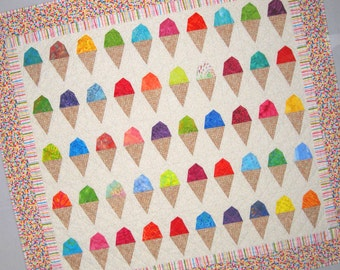 SCOOPS Ice Cream Cone Quilt from Quilts by Elena  Wall Hanging Table Runner