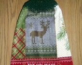 Hanging Towel - Crochet Top Towel - Holiday Deer, Pine Cones and Plaid - Thick Plush Hanging Towel - Christmas Towel - Kitchen Dish Towel
