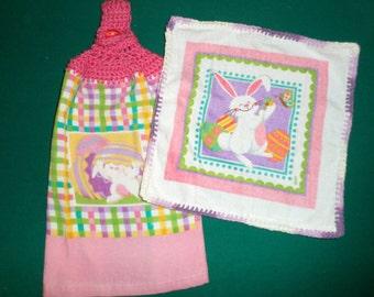 Crochet Top Towel Set - Easter Bunny Towel and Dish Cloth - Kitchen Towel Set - Easter Dish Cloth - Hanging Towel - Pink Easter Towel