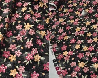 3597 - Japanese Kimono Cherry Blossom Floral Chirimen Crepe Fabric - 43 Inch (Width) x 1/2 Yard (Length)