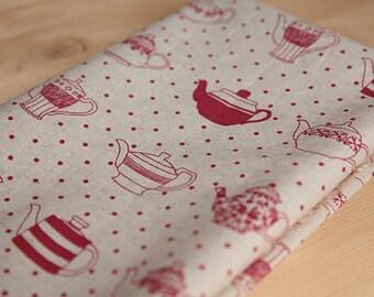 3758 - Teapot Polka Dot Cotton Linen Blend Fabric - 55 Inch (Width) x 1/2 Yard (Length)