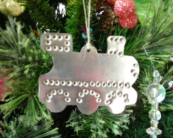 Train Locomotive Ornament Old Fashioned Silver Tin Punch Hand Cut By West Tinworks