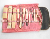 Vintage Celluloid Manicure Set in Leather and Silk Pouch