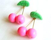 Rockabilly Pinup Pink Cherry Earrings Fruit Earrings Kawaii Cherry Earrings Fruit Jewelry Food Jewelry Kitsch