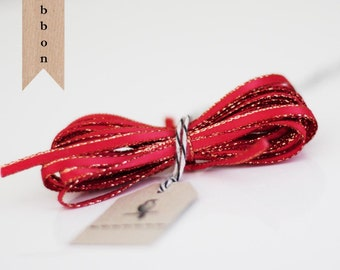 Wholesale Cranberry red Sparkle Satin Twine Ribbon 50 yards