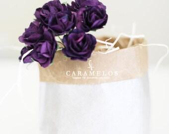 30  Deep Purple Millinery paper flowers