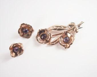 Flower Purple Stone Earring and Brooch Set Vintage 40s Jewelry