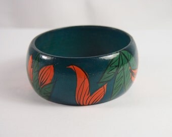Painted Wood Bangle Bracelet Vintage 80s Jewelry