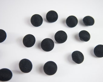 Vintage 40s Black Fabric Covered Sewing Button Set 16