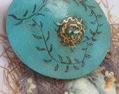 Engraved Whimsical Love nest on Verdigris vintage brass locket sale now 34 dollars valentine gift