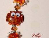 Owl Handmade Lampwork Glass Beads