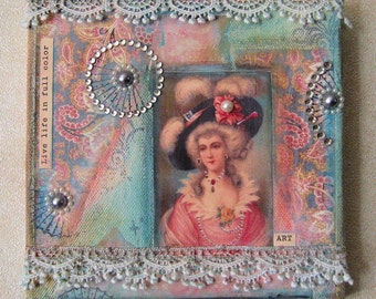 "Original Mixed Media Collage on Canvas ""Marie Antoinette"""
