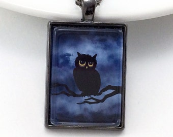 Black Owl Necklace / Blue Owl Jewelry / Halloween Jewelry / Gothic Necklace / Gothic Jewelry / Glass Tile Necklace / Glass Tile Jewelry
