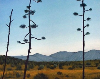 "Desert Trees Landscape Original Painting 16"" x 20"" Clear Blue Sky with Mountains Acrylic on Canvas Fort Huachuca Arizona Southwestern Art"
