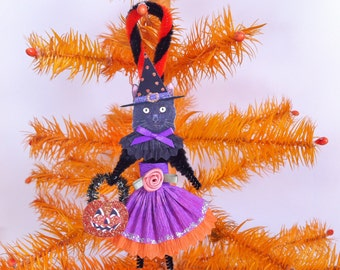 HALLOWEEN witch kitty CAT girl vintage style chenille ORNAMENT