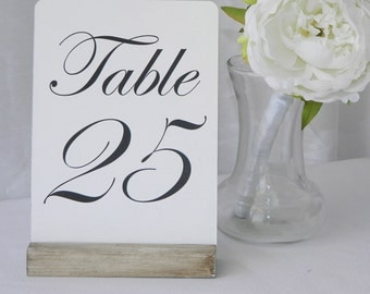 White Distressed Table Number Holders- (Set of 10)