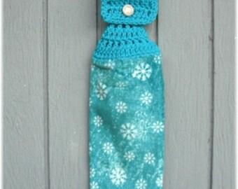 Hanging Kitchen Towel Snowflakes Frozen Winter Aqua Blue