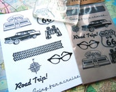Retro Travel Themed Cling Rubber Stamp Set - 9 Unmounted stamps -  Handmade rubber stamps by Blossom Stamps