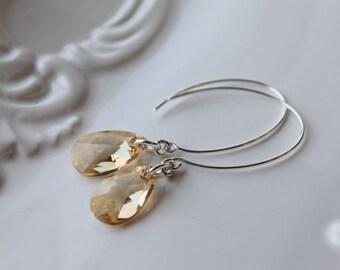 Champagne Crystal Earrings / Golden Shadow Swarovski Crystal Earrings / Sterling Silver Wedding Jewelry /Bridal Earrings / Modern Earwire