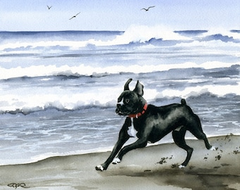 """Black Boxer Art Print """"Black Boxer At The Beach"""" Signed by Watercolor Artist DJ Rogers"""