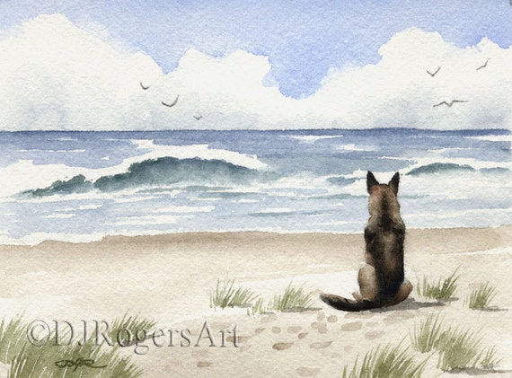 GERMAN SHEPHERD Art Print Signed by Watercolor Artist DJ Rogers