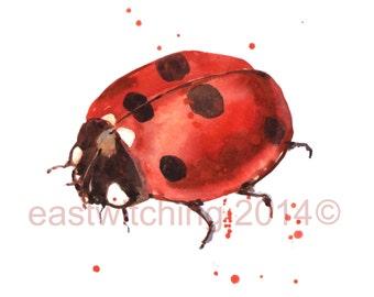 Funny art, kids room art, LADYBUG Print, ladybird, little girl art, dots, spots, spotted
